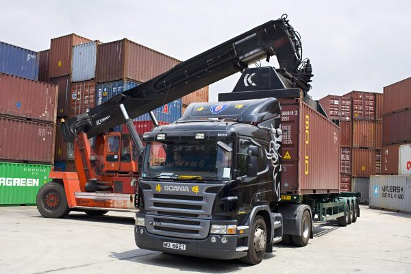 Scania P 310 4x2 with container semi trailer.  Hongkong, China.  Photo: Dan Boman 2007-05